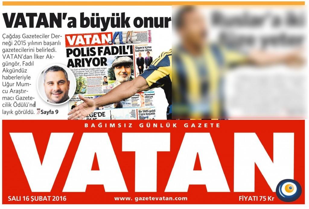 16 Şubat 2016 Vatan Gazetesi 1. sayfa