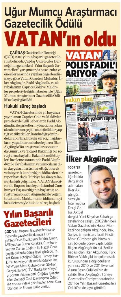 16 Şubat 2016 Vatan Gazetesi 9. sayfa