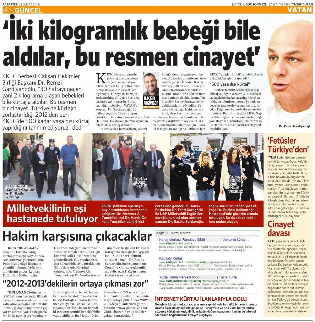 29 Şubat 2016 Vatan Gazetesi 4. sayfa