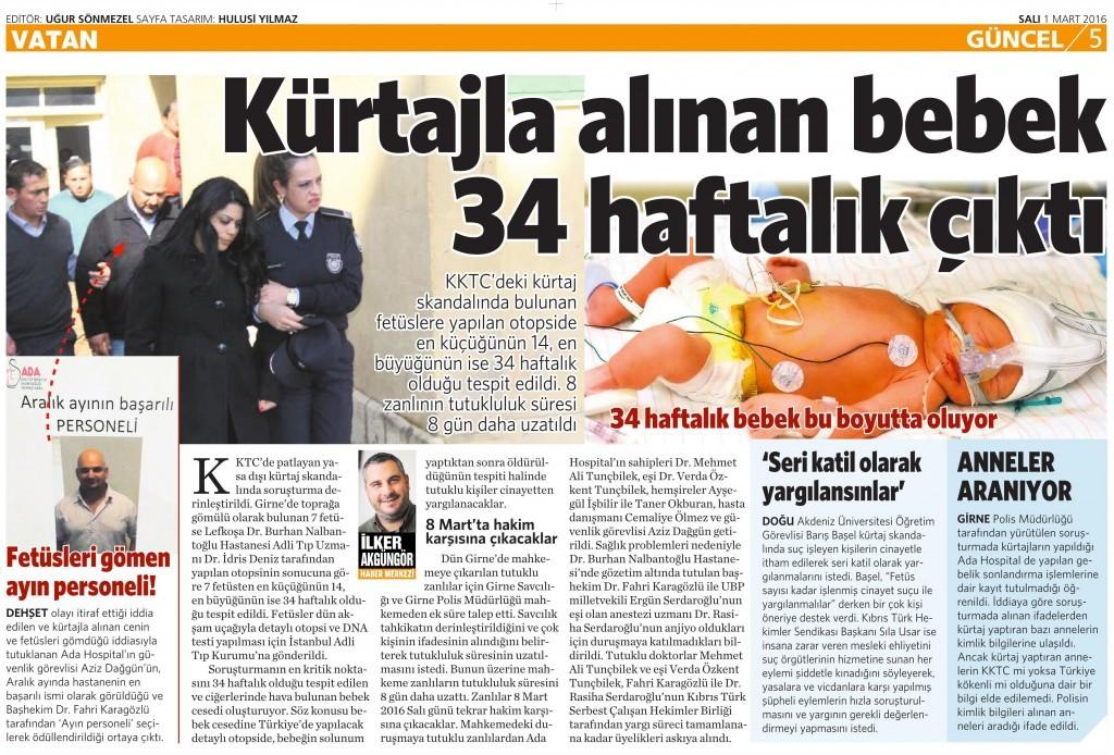 1 Mart 2016 Vatan Gazetesi 5. sayfa