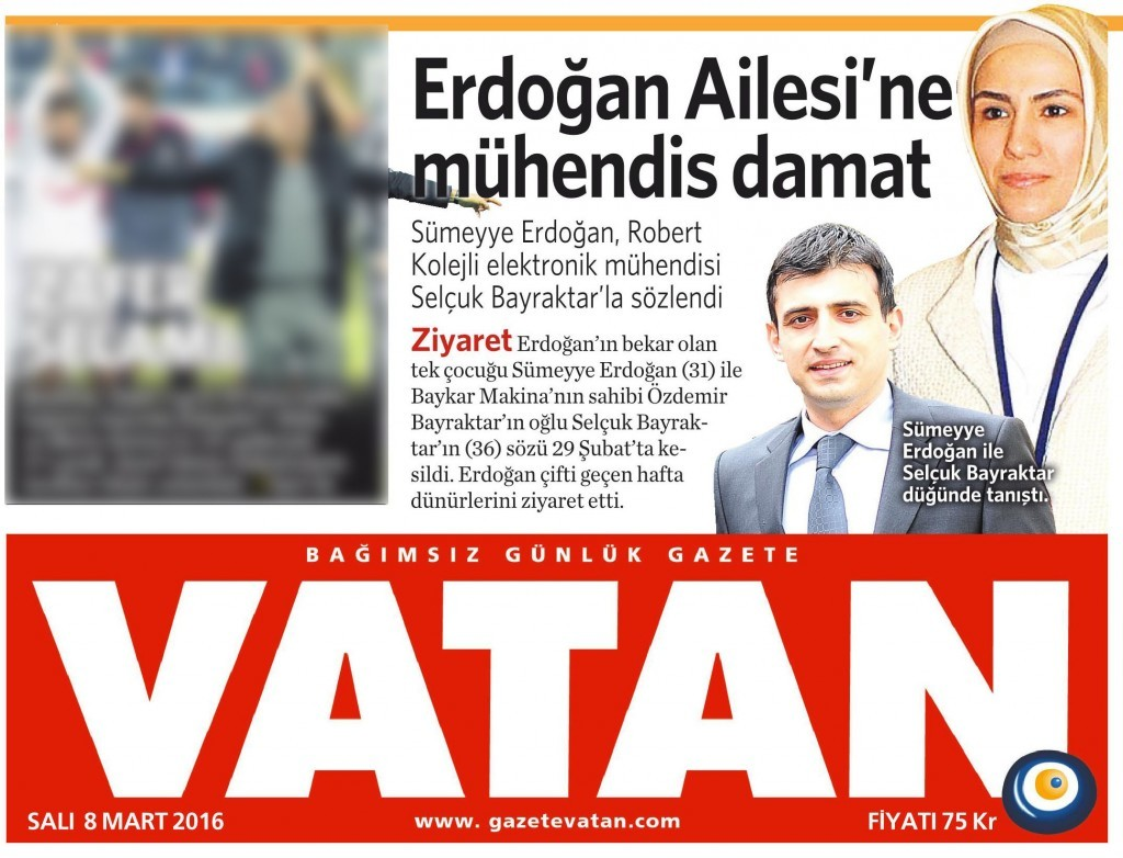 8 Mart 2016 Vatan Gazetesi 1. sayfa