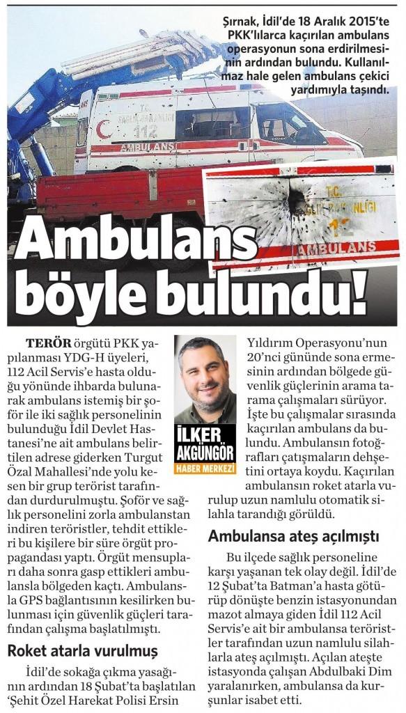 16 Mart 2016 Vatan Gazetesi 16. sayfa
