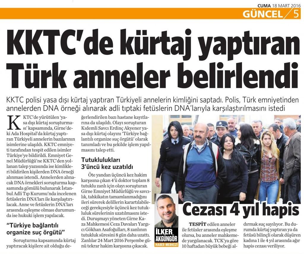18 Mart 2016 Vatan Gazetesi 5. sayfa