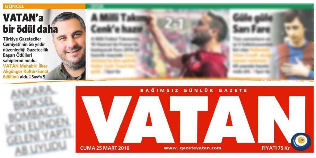 25 Mart 2016 Vatan Gazetesi 1. sayfa