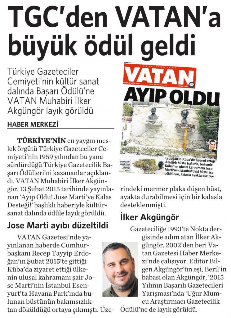 19 Mart 2016 Vatan Gazetesi 5. sayfa