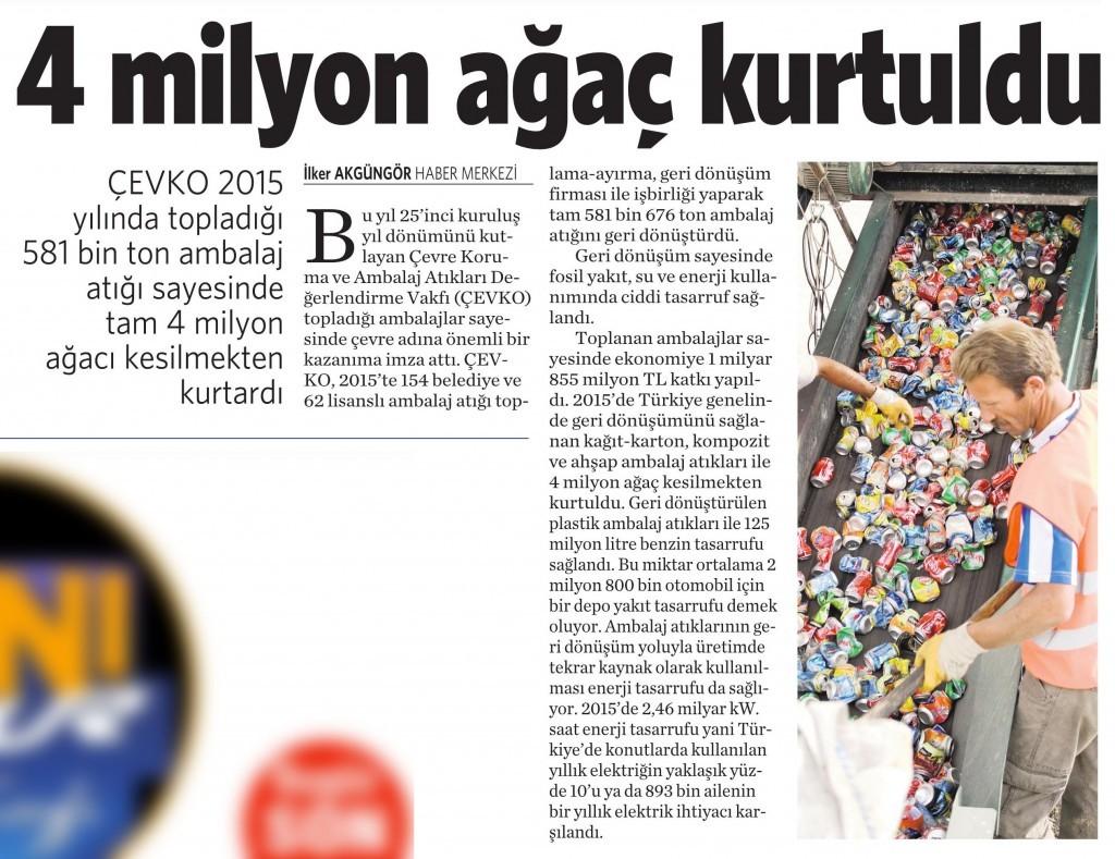 28 Mart 2016 Vatan Gazetesi 2. sayfa