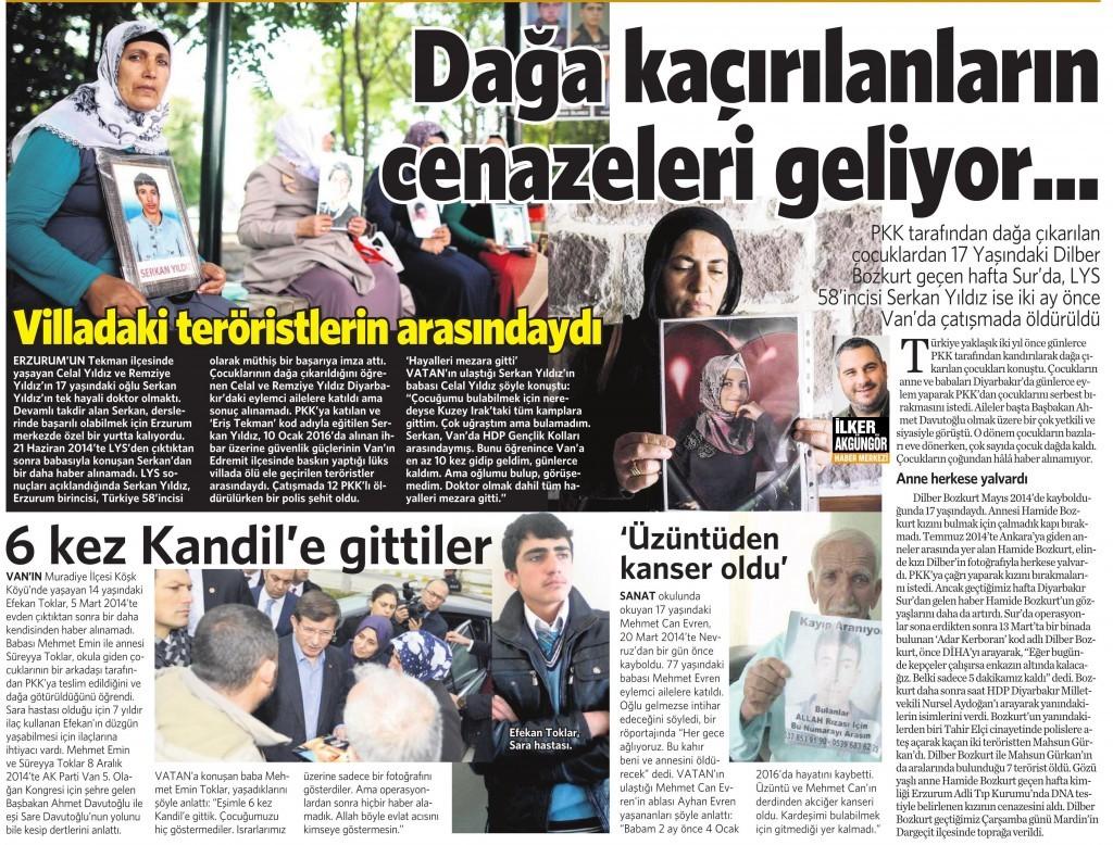 28 Mart 2016 Vatan Gazetesi 11. sayfa