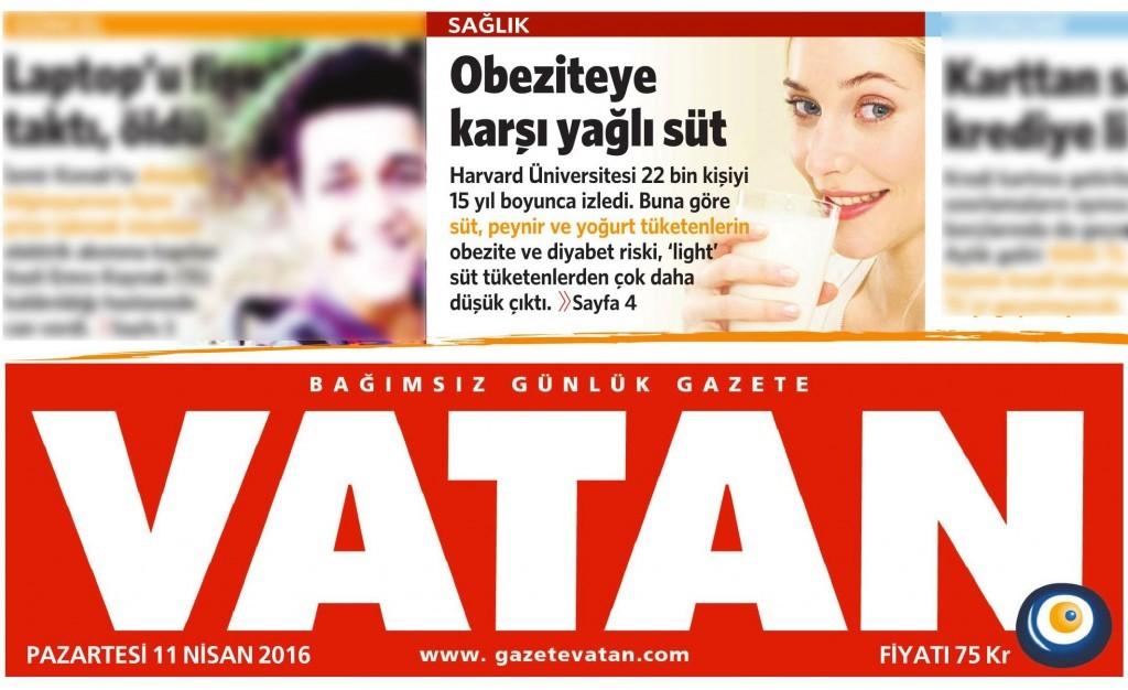 10 Nisan 2016 Vatan Gazetesi 1. sayfa