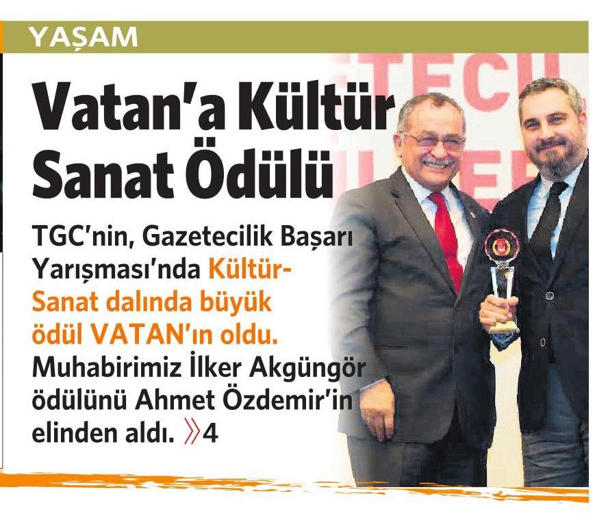 12 Nisan 2016 Vatan Gazetesi 1. sayfa