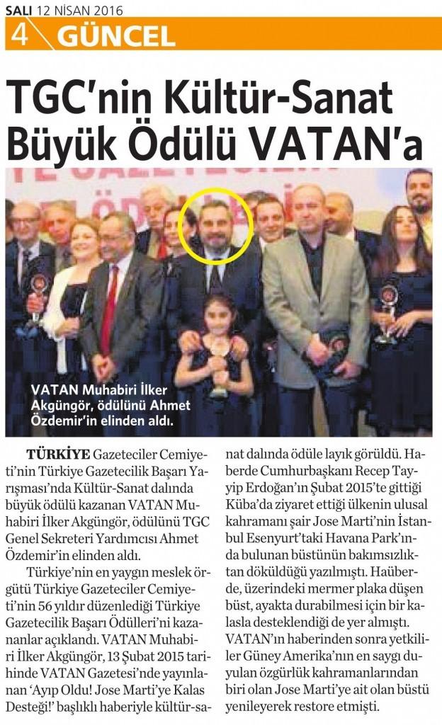 12 Nisan 2016 Vatan Gazetesi 4. sayfa