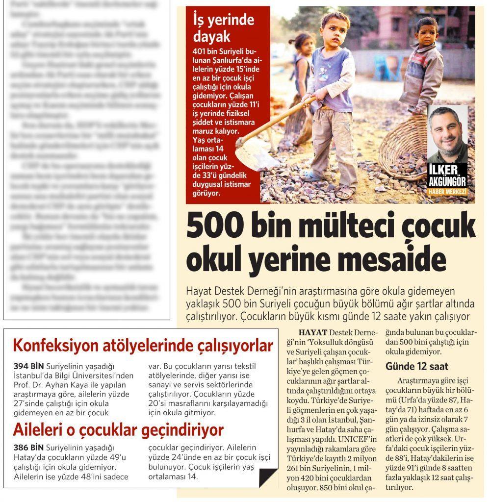 18 Nisan 2016 Vatan Gazetesi 10. sayfa