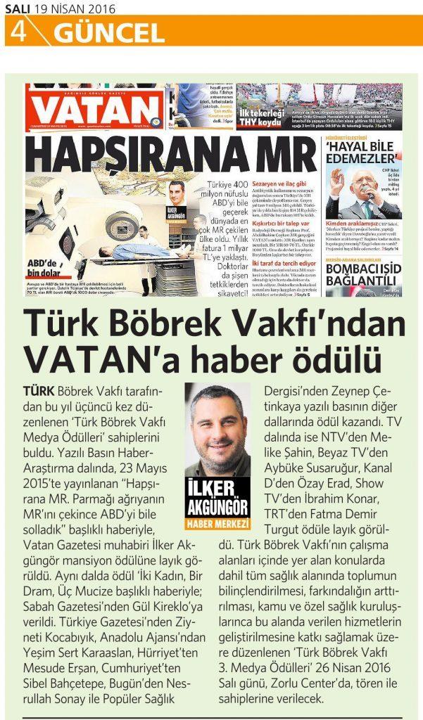 19 Nisan 2016 Vatan Gazetesi 4. sayfa