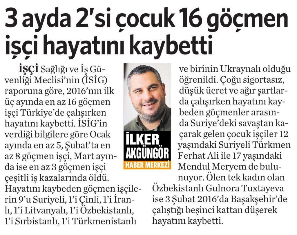 20 Nisan 2016 Vatan Gazetesi 6. sayfa