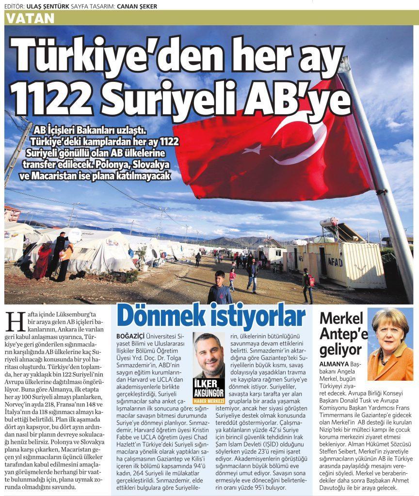 24 Nisan 2016 Vatan Gazetesi 17. sayfa