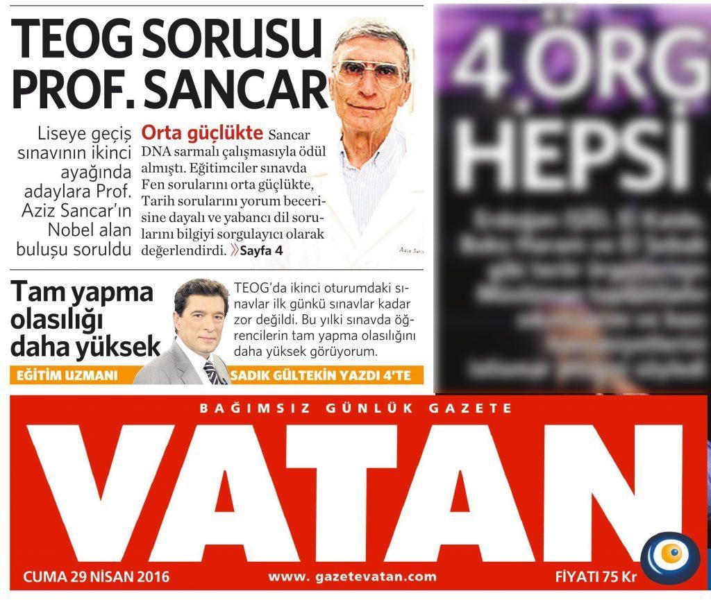 29 Nisan 2016 Vatan Gazetesi 1. sayfa