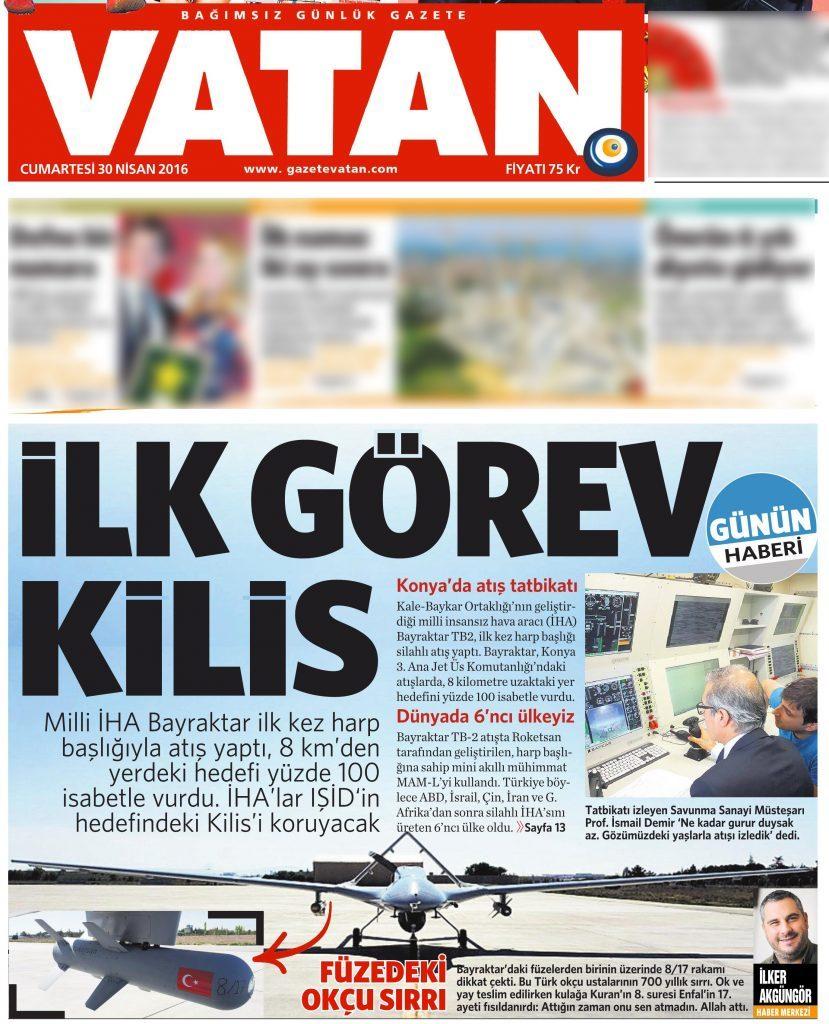 30 Nisan 2016 Vatan Gazetesi 1. sayfa