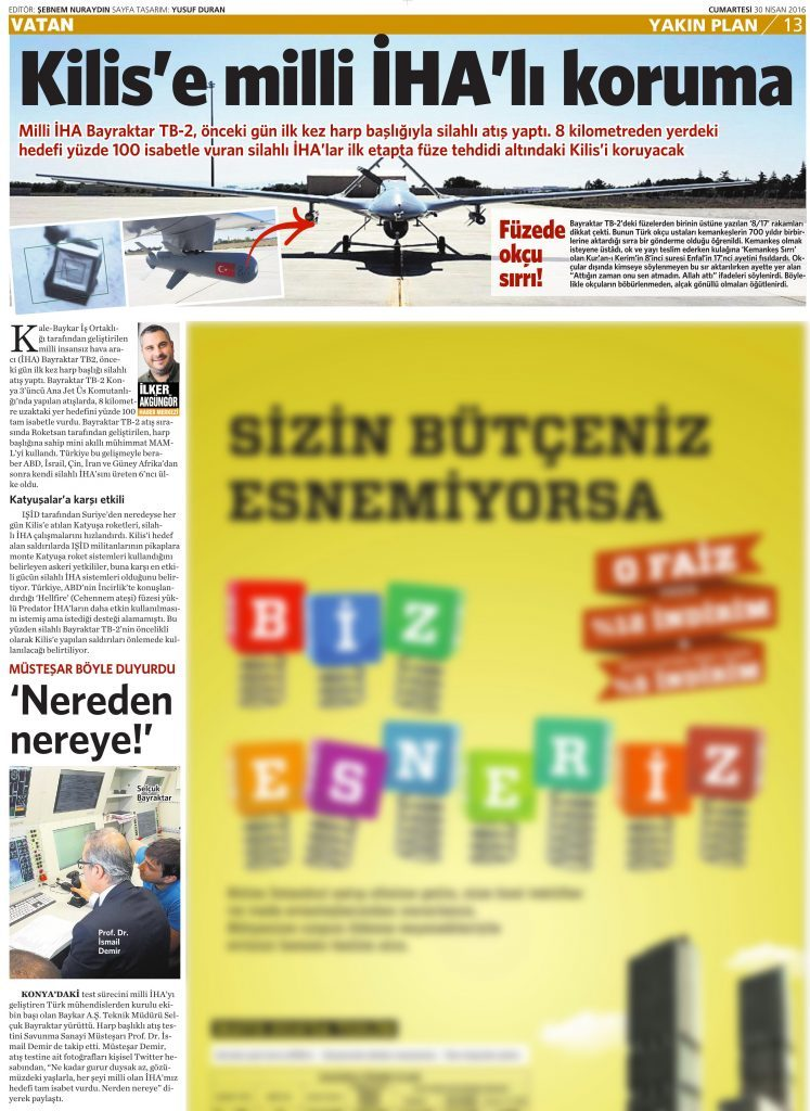 30 Nisan 2016 Vatan Gazetesi 13. sayfa