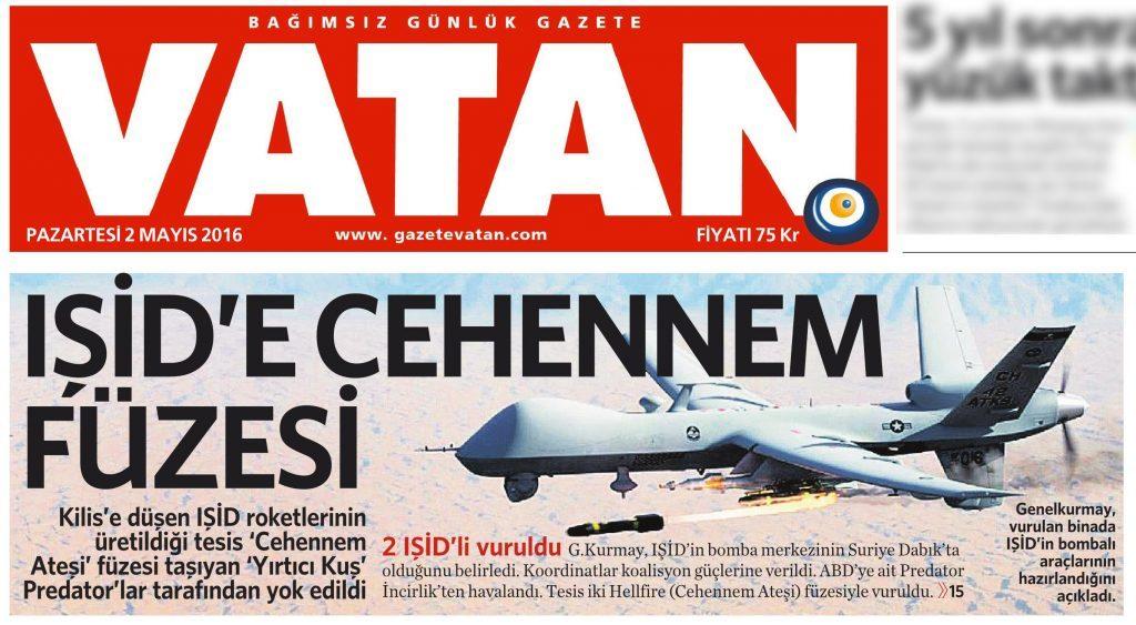 2 Mayıs 2016 Vatan Gazetesi 1. sayfa