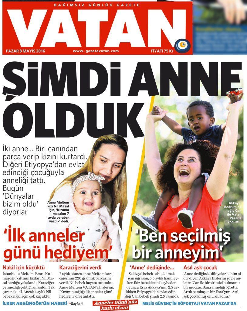 8 Mayıs 2016 Vatan Gazetesi 1. sayfa