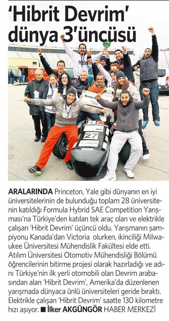10 Mayıs 2016 Vatan Gazetesi 2. sayfa