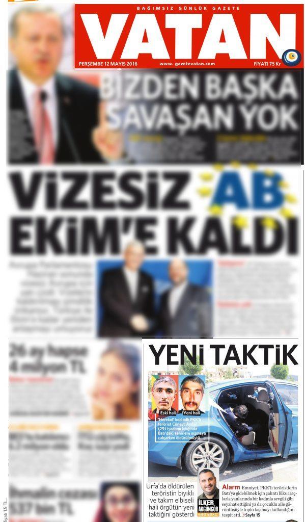 12 Mayıs 2016 Vatan Gazetesi 1. sayfa