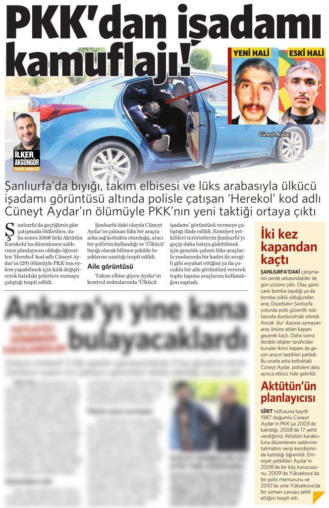 11 Mayıs 2016 Vatan Gazetesi 15. sayfa
