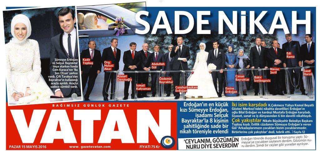 15 Mayıs 2016 Vatan Gazetesi 1. sayfa