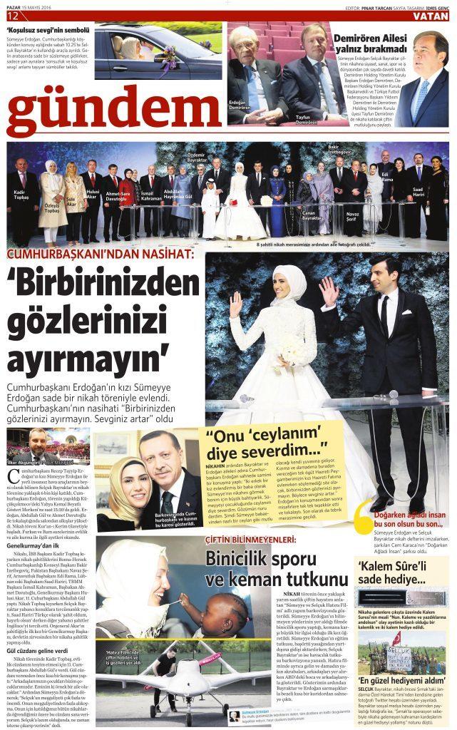 15 Mayıs 2016 Vatan Gazetesi 12. sayfa