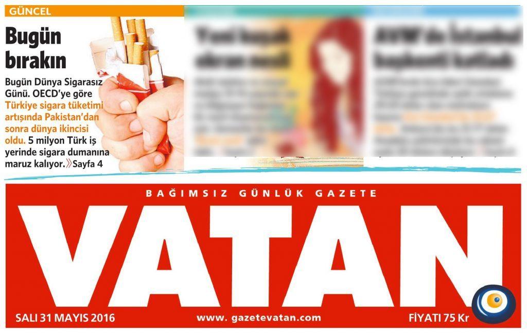 31 Mayıs 2016 Vatan Gazetesi 1. sayfa