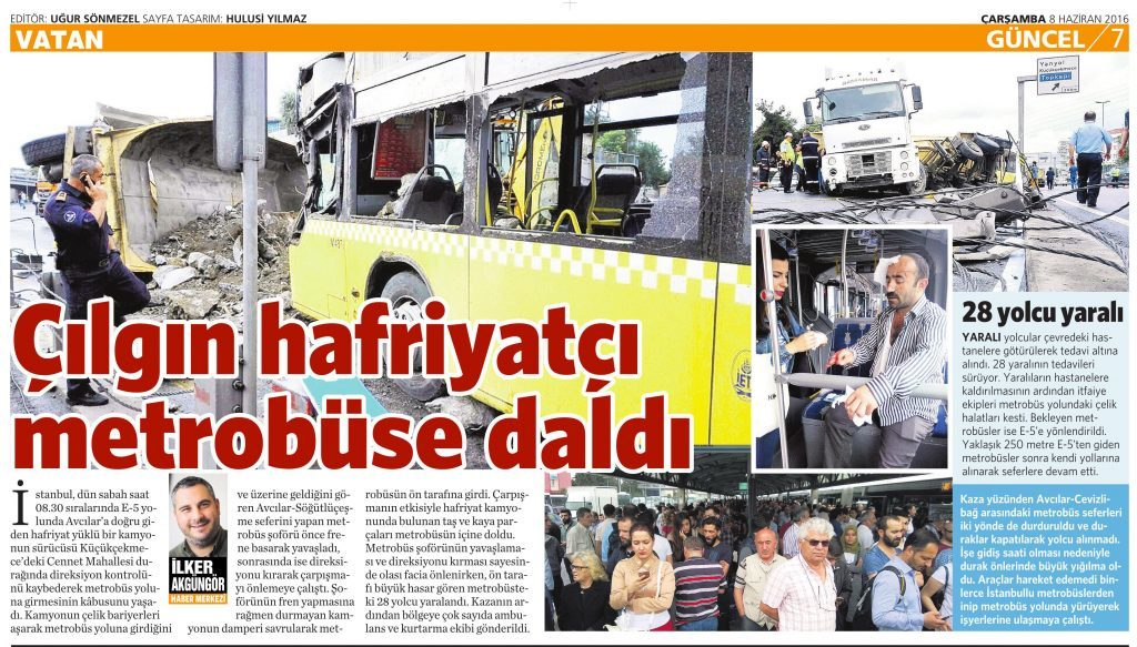 8 Haziran 2016 Vatan Gazetesi 7. sayfa