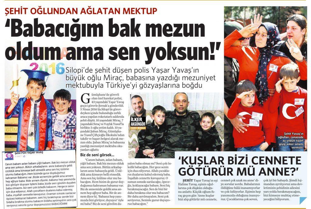 17 Haziran 2016 Vatan Gazetesi 13. sayfa