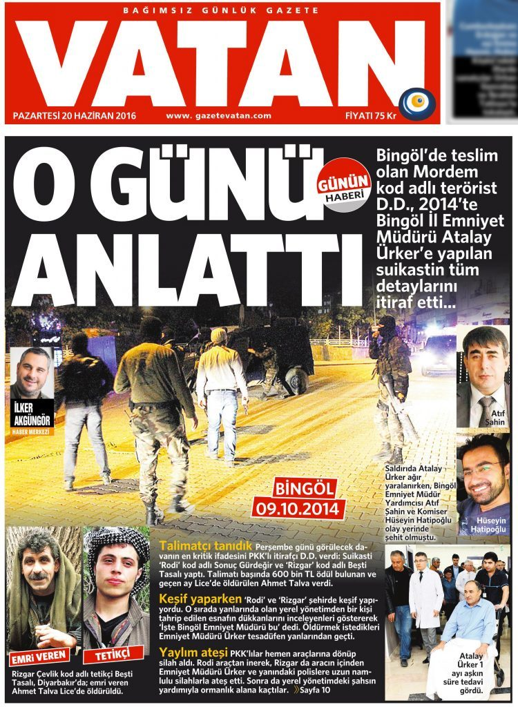 17 Haziran 2016 Vatan Gazetesi 1. sayfa