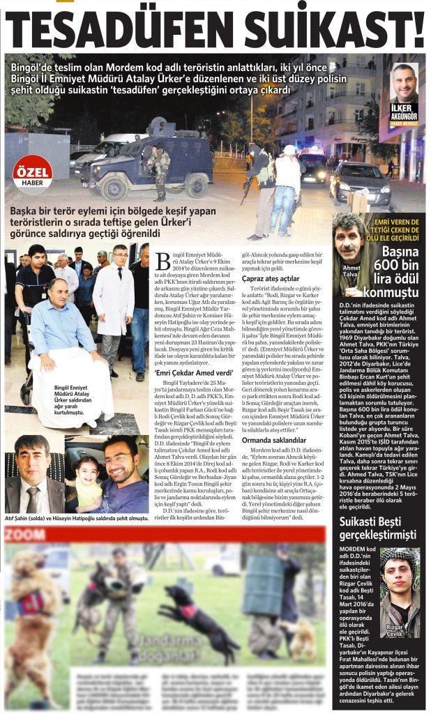 20 Haziran 2016 Vatan Gazetesi 1. sayfa