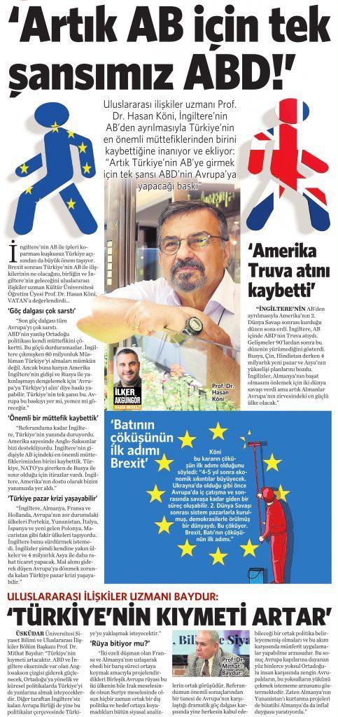 25 Haziran 2016 Vatan Gazetesi 14. sayfa