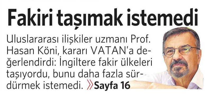 25 Haziran 2016 Vatan Gazetesi 1. sayfa