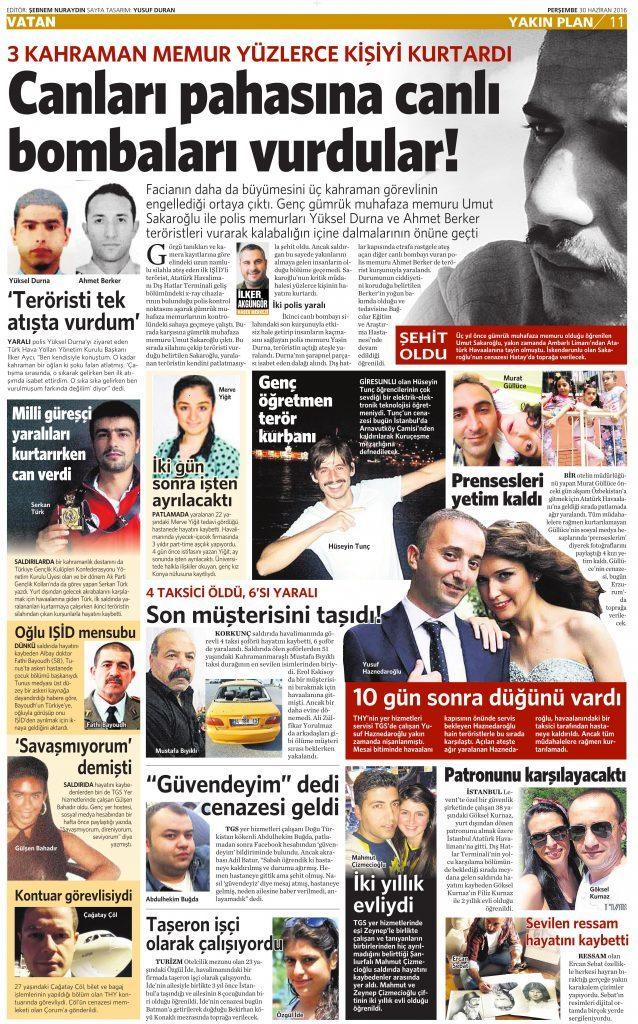 30 Haziran 2016 Vatan Gazetesi 11. sayfa