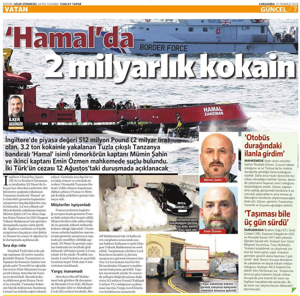 13 Temmuz 2016 Vatan Gazetesi 7. sayfa