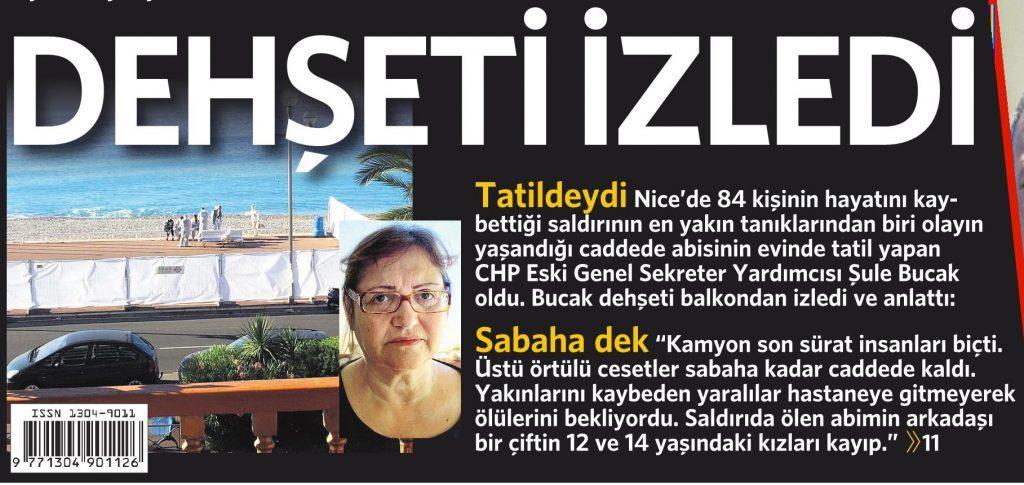 16 Temmuz 2016 Vatan Gazetesi 1. sayfa