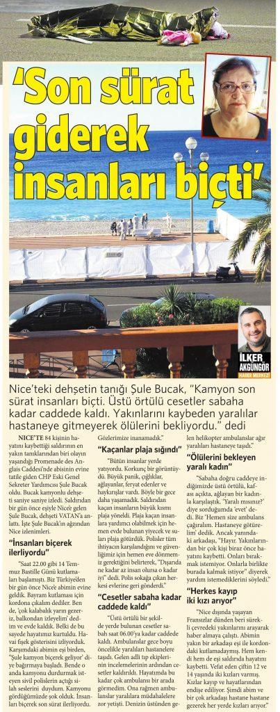 16 Temmuz 2016 Vatan Gazetesi 11. sayfa