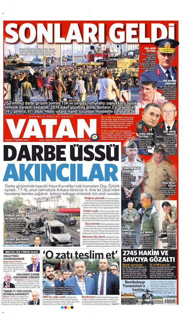 17 Temmuz 2016 Vatan Gazetesi 1. sayfa