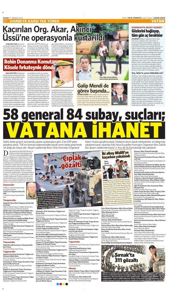 17 Temmuz 2016 Vatan Gazetesi 2. sayfa