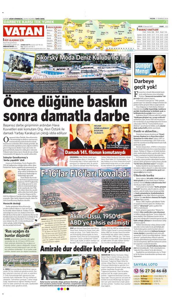 17 Temmuz 2016 Vatan Gazetesi 3. sayfa