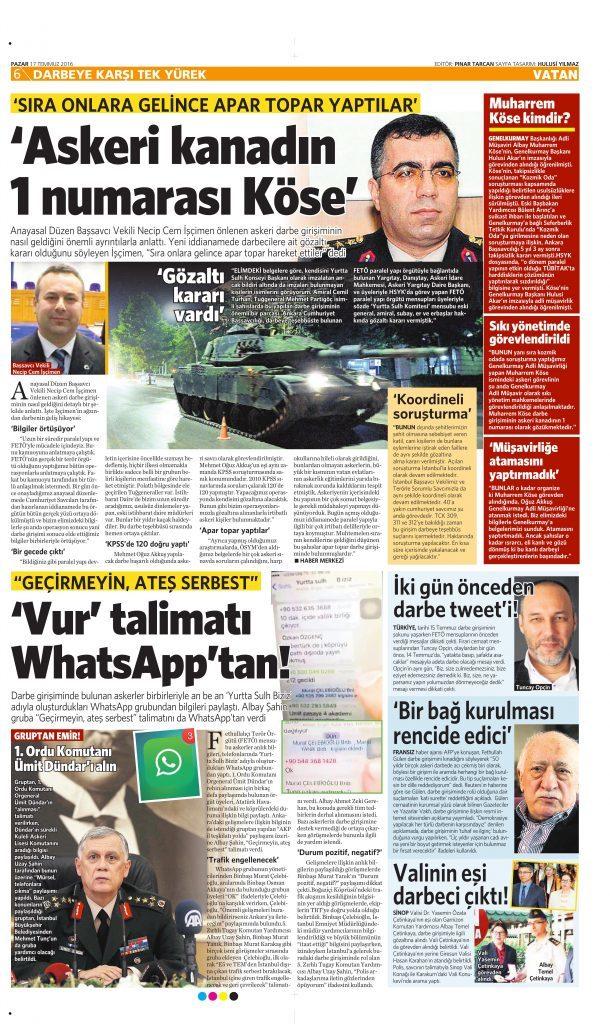 17 Temmuz 2016 Vatan Gazetesi 6. sayfa