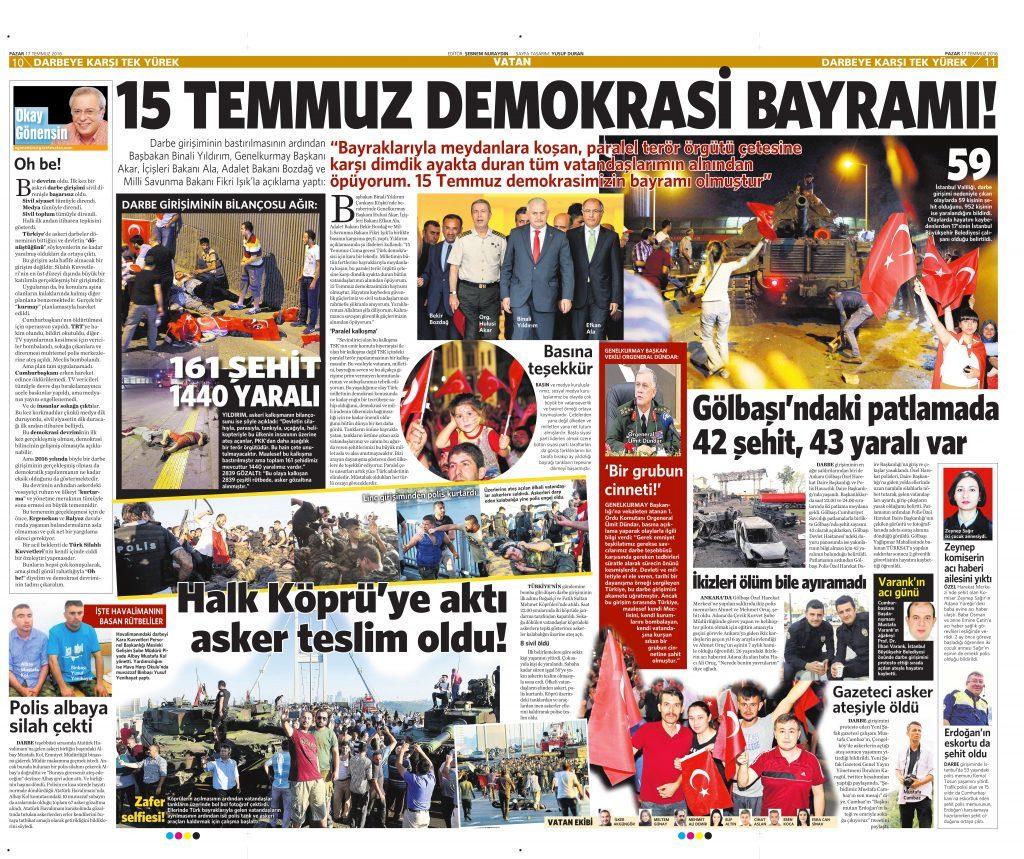17 Temmuz 2016 Vatan Gazetesi 10 ve 11. sayfa