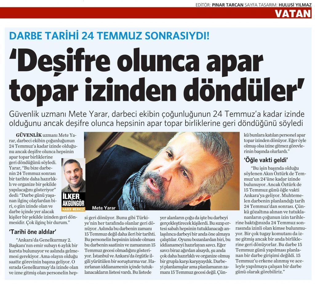 19 Temmuz 2016 Vatan Gazetesi 16. sayfa