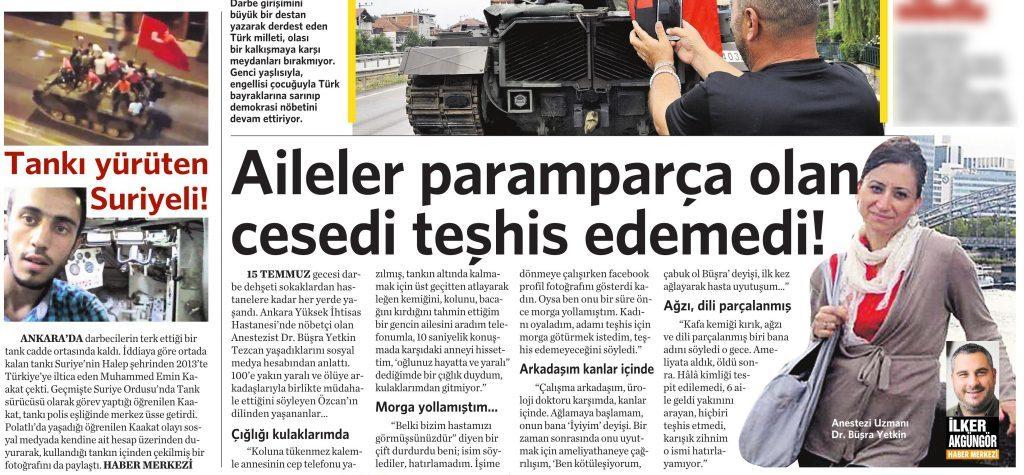20 Temmuz 2016 Vatan Gazetesi 12. sayfa