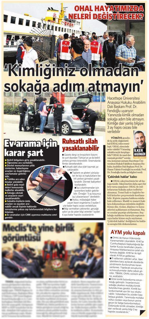 22 Temmuz 2016 Vatan Gazetesi 15. sayfa