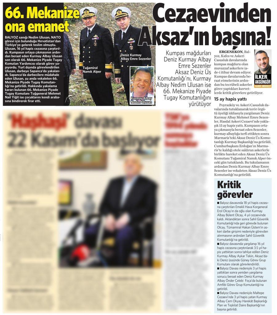 23 Temmuz 2016 Vatan Gazetesi 16. sayfa