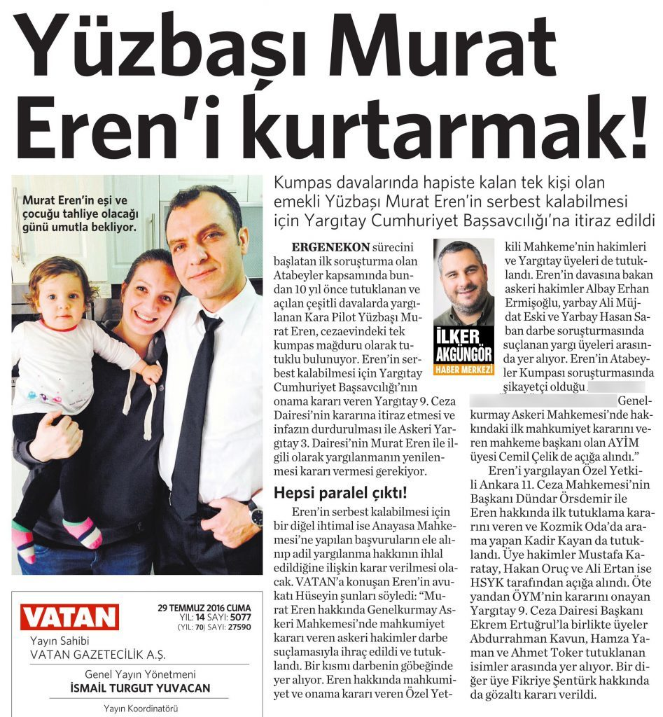 29 Temmuz 2016 Vatan Gazetesi 17. sayfa