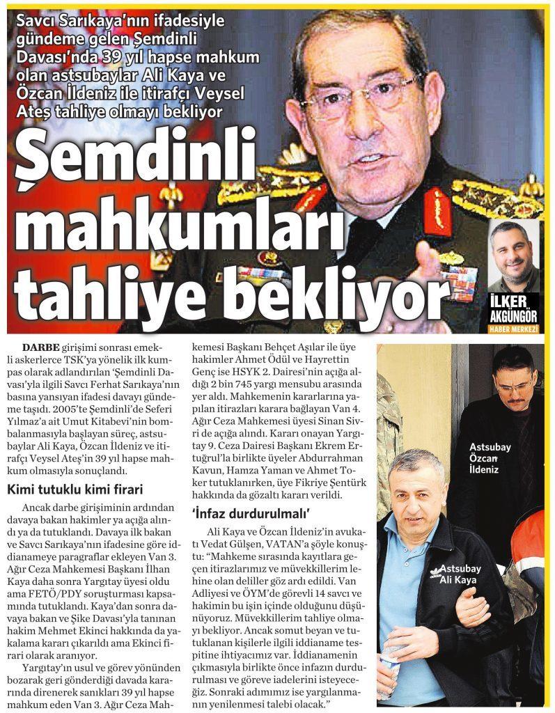 3 Ağustos 2016 Vatan Gazetesi 13. sayfa